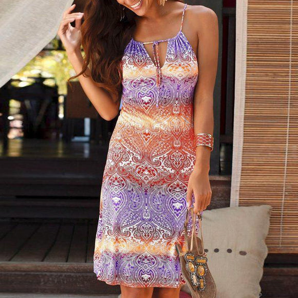 Boho Pink Halter Neck Sleeveless Mini Dress
