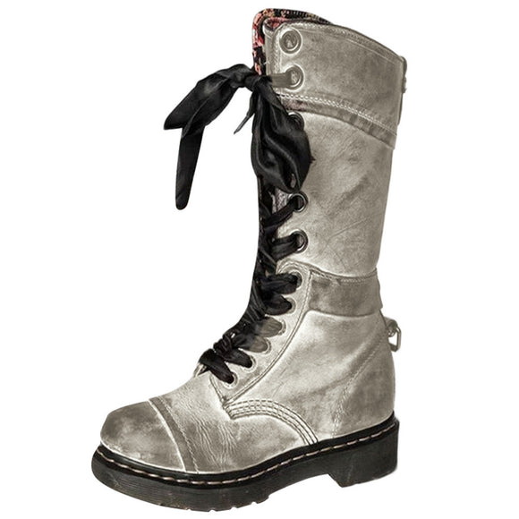 Vintage Retro Leather Middle Martin Boot (silver)