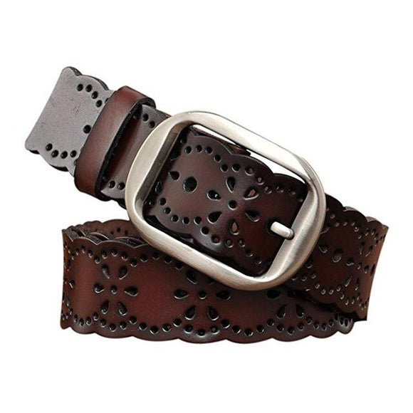 Vintage Leather Flower Belt With Needle Buckle (3 colours)