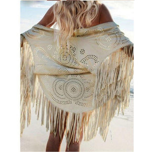 Casual Faux Suede Tassel Fringe Beach Cover Up/Kimono (Beige or Brown S-XL)