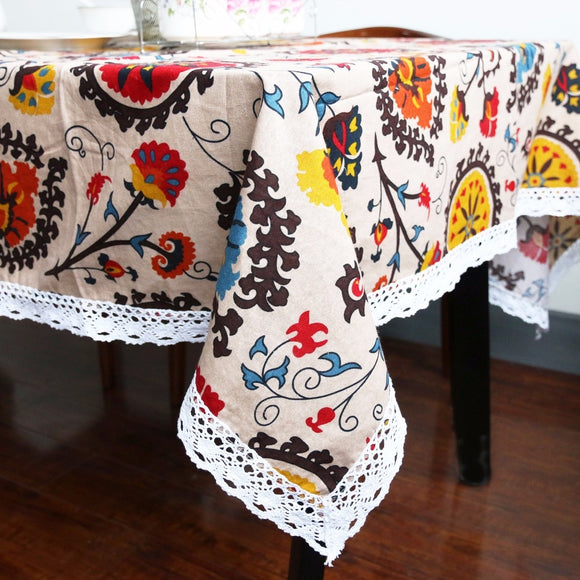 Boho Sun Flower Cotton Linen Tablecloth