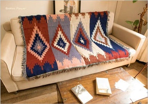 Boho Soft Cotton Aztec Throw Blanket/Rug