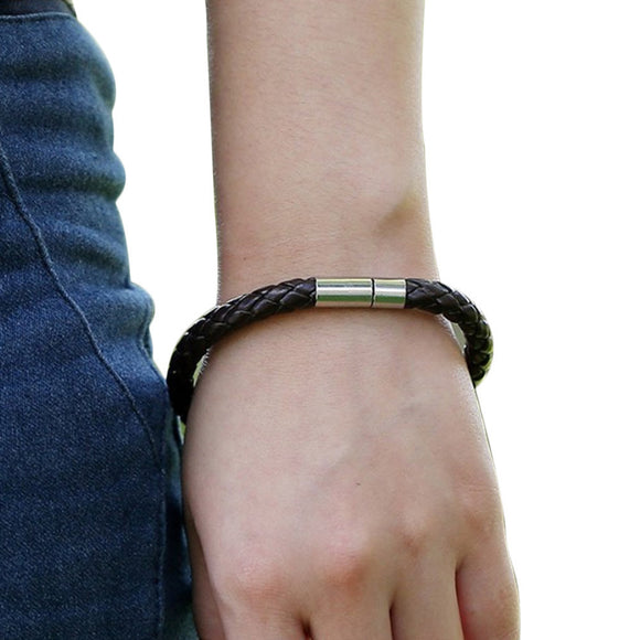 Unisex Weave Vintage Leather Bracelet (Black or Brown)