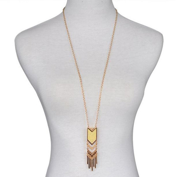 Long Bohemian Triangle Tassel Pendant/Necklace (Gold or Silver)