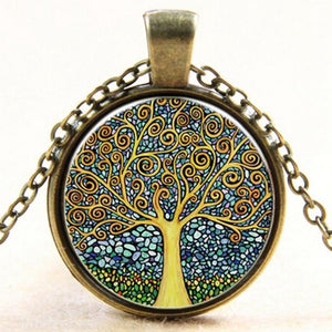 Boho Nebula Tree of Life Antique Necklace