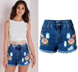 Boho Floral Embroidered High Waist Jean Shorts