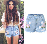 Floral Embroidered Boho Denim High Waist Shorts