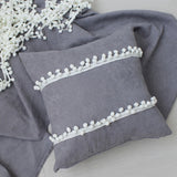Pom Pom Tassel Square Throw Cushion