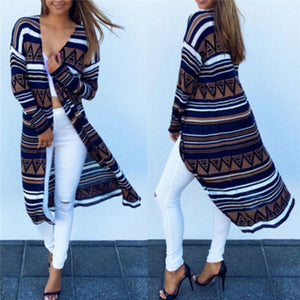 Boho Fashion Aztec Print Long Cardigan