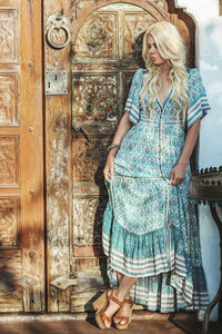 Boho/Gypsy Oracle Print Ruffled Hem Cotton Maxi Dress