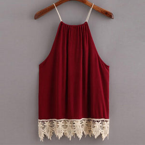 Vintage Lace Trimmed Drawstring Tank Top