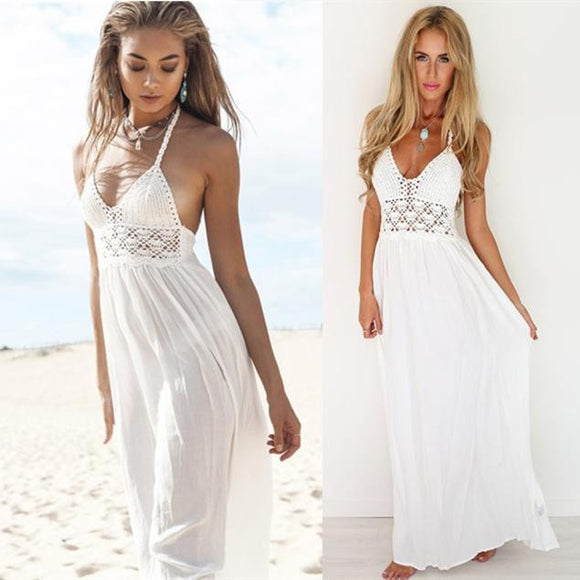 Boho Backless Crochet Halterneck Evening/Party Maxi Dress