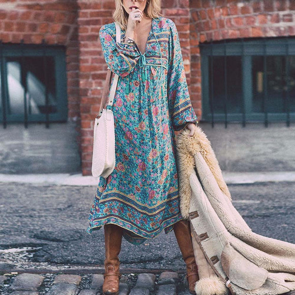 Floral Print Long Sleeve Boho Maxi Dress
