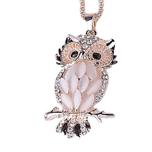 Pink Opal & Diamonte Owl Pendant/Necklace