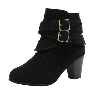 Buckle Suede High Heel Ankle Boots (Khaki or Black)