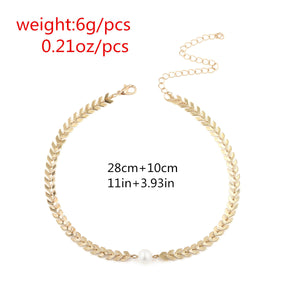 Fashion Fishbone & Pearl Necklace (Gold or Silver)