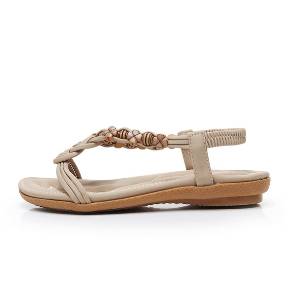 Bohemian Beaded Braid Beach Sandals (beige)