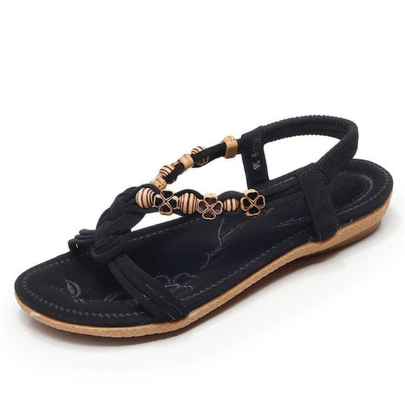 Bohemian Beaded Braid Beach Sandals (black)