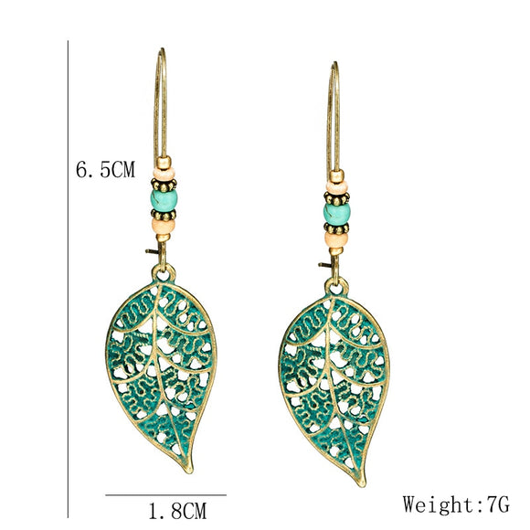 Bohemian Bead & Alloy Leaf Drop Earrings (Green)