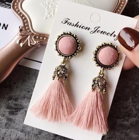 Vintage Flower & Tassel Drop Earrings (5 colours)