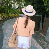 Fashion Boho Crochet Drawstring bucket Bag (Beige or Brown)
