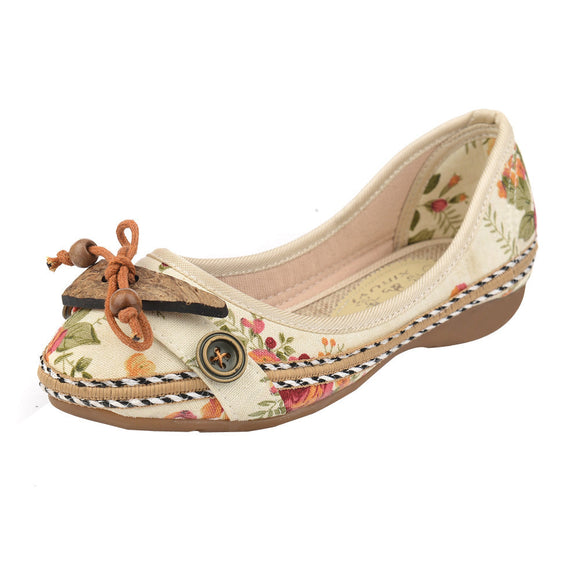 Vintage Fashion Embroidered Flat Shoes