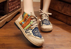 Vintage Boho Embroidered Canvas High Top Shoes
