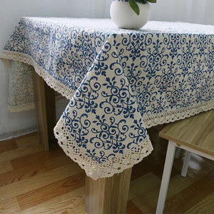 Vintage Linen Chinese Style Blue and White Porcelain with Lace Tablecloth