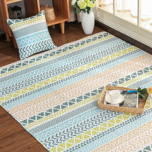 Europe 100% Cotton Non-slip Pastel Striped Area Rug