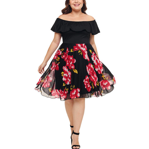 Plus Size Boho/Vintage Floral Off Shoulder Swing Dress (XL - 5XL)