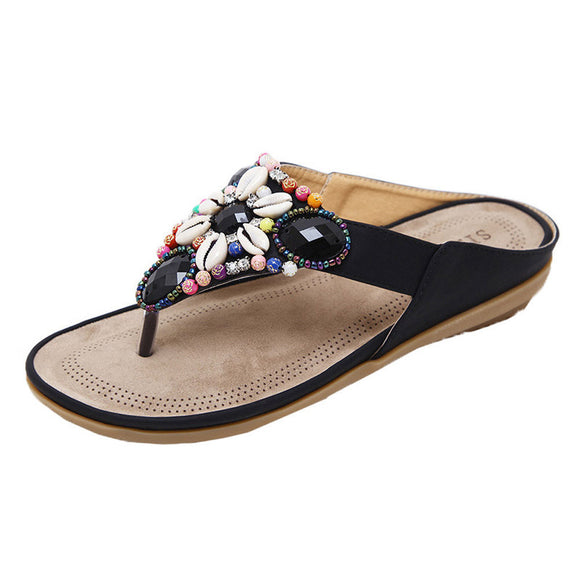 Boho Bead and Shell Comfort Slip-ons (4 Colours)