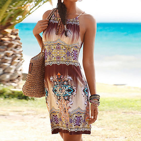 Boho multi-colour print Halter Neck Sleeveless Mini Dress