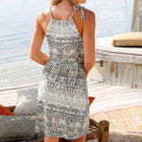 Boho Grey Halter Neck Sleeveless Casual Mini