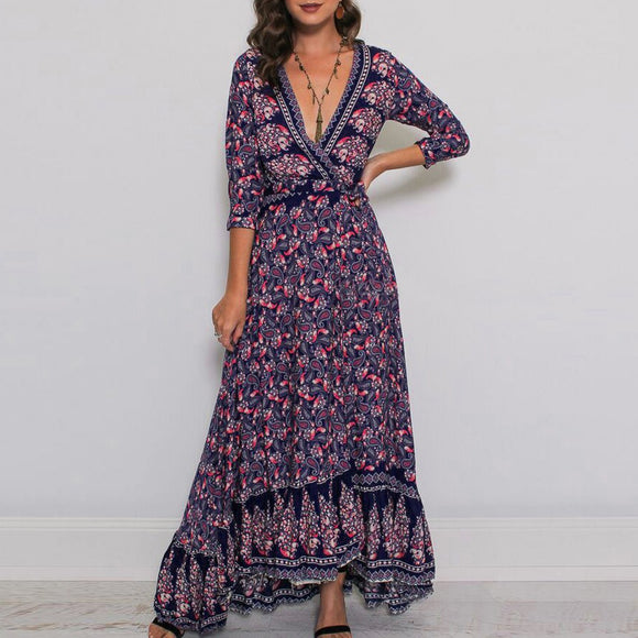 Boho Floral 3/4 Sleeve V-Neck Maxi Dress