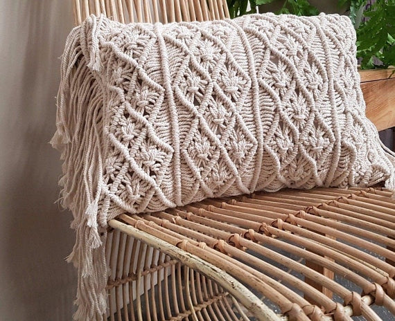 Boho Rectangle Handmade Macrame Tassel Cushion Cover