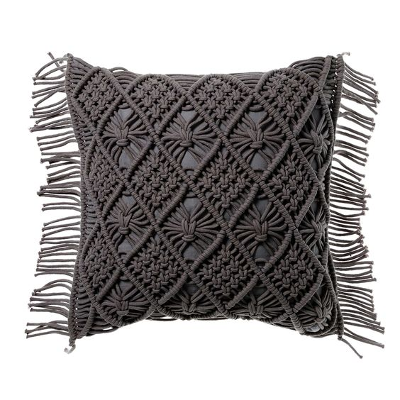 Black Boho Handmade Macrame Cushion Cover (4 sizes)