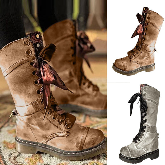 Vintage/Retro Leather Middle Boot (Khaki or Grey)