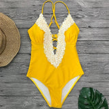 Sexy Boho Lace Push Up One Piece Swimsuit (6 colour variants S-2XL)