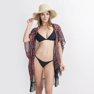 Boho Tassel Open Bikini Cover Up (Blue or Red)