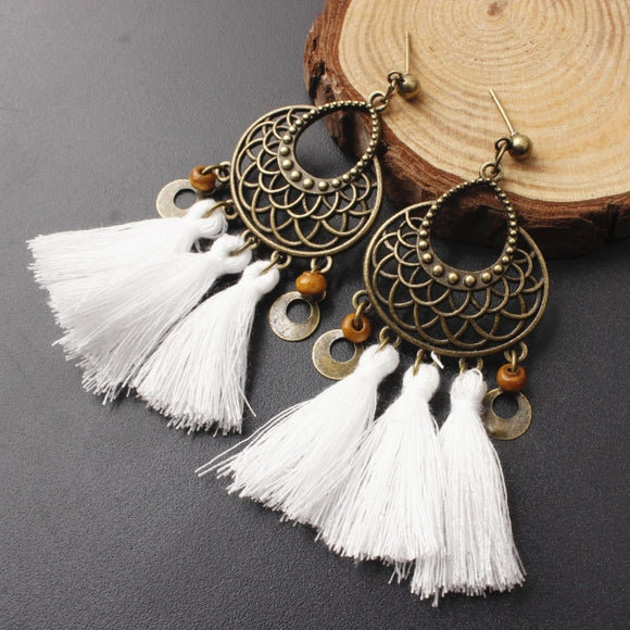 Bohemian Vintage Long Tassel Earrings (12 Colours)