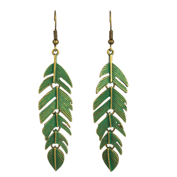 Bohemian Leaf Alloy Drop Earrings (Green)