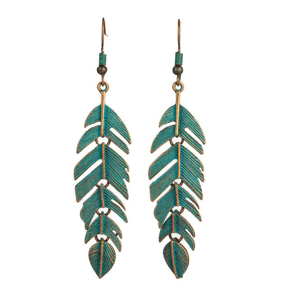 Bohemian Leaf Alloy Drop Earrings (Teal)