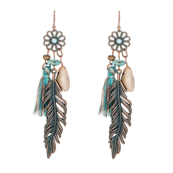 Bohemian Flower & Feather Stone & Tassel Drop Earrings