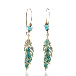 Bohemian Stone and Alloy Feather Drop Earrings