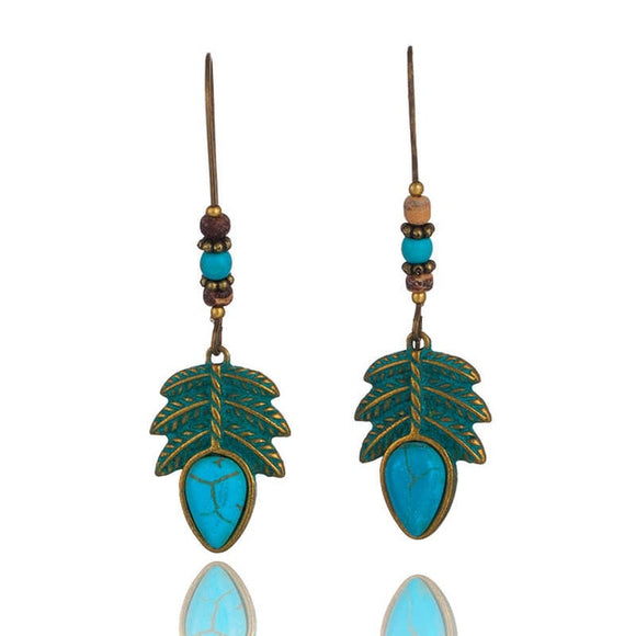 Boho Bead and Leaf Alloy Drop Earrings