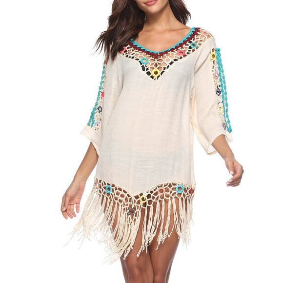 Boho Tassel Crochet Beach Cover Up (4 Colours)