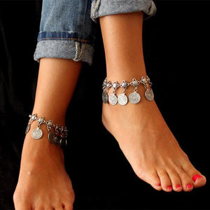 Sexy Boho Silver Coin Anklet
