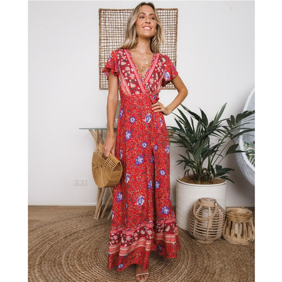 Gypsy/Boho Morning Glory Short Sleeve Cotton Maxi Dress (Red or Blue)