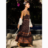 Boho/Hippie Plum Floral Print Cotton Maxi Dress