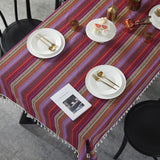 Bohemian Cotton Stripe Print Tassel Tablecloth (red or light grey)